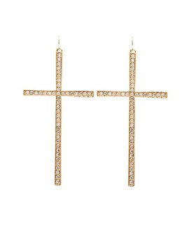 Crystal Cross Drop Earrings by Charlotte Russe