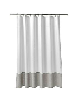 Oxford Stitch Shower Curtain White/Gray   Fieldcrest® by Fieldcrest