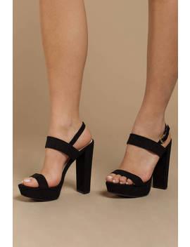 Janie Black Suede Heels by Tobi