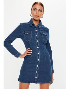 Petite Blue Dark Wash Long Sleeve Button Through Denim Dress by Missguided