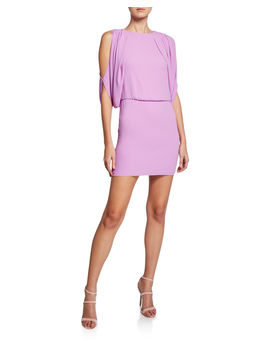 Cape Sleeve Open Back Mini Dress by Halston Heritage