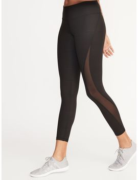 Mid Rise Elevate 7/8 Length Mesh Panel Compression Leggings For Women by Old Navy