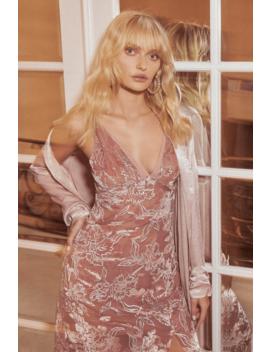 Katrin Mauve Burnout Velvet Floral Print Midi Dress by Lulus