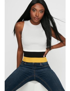 Crew Neck Ribbed Colour Block Sleeveless Top by Urban Planet