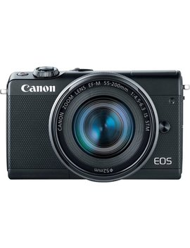 Eos M100 Mirrorless Camera With Ef M 15 45mm And 55 200mm Is Stm Zoom Lenses   Black by Canon