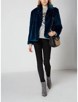 Teal Faux Fur Jacket by Biba