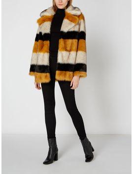 Stripe Portobello Faux Fur Coat by Biba