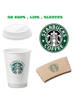 Starbucks White Disposable Hot Paper Cup, 12 Ounce, Sleeves And Lids (Pack Of 50 Each) by Starbucks
