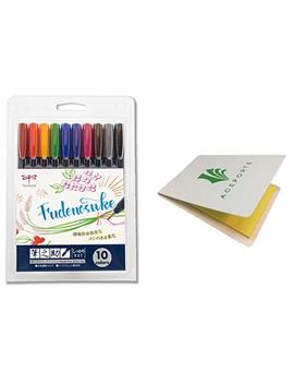 Tombow Fudenosuke Colors Set 10 Pack, Ws Bh10 C (Japanese Version) With Original Sticky Notes. Hard Tip Fudenosuke Fude Brush Pens In Assorted Colors For Calligraphy And Art Drawings by Tombow