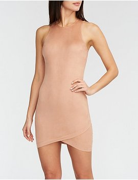 Faux Suede Zipper Bodycon Dress by Charlotte Russe
