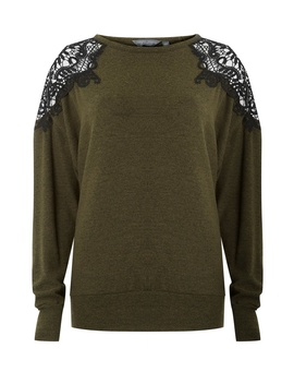 **Tall Khaki Lace Batwing Jumper by Dorothy Perkins