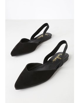 Mae Black Suede Pointed Toe Slingback Flats by Lulus