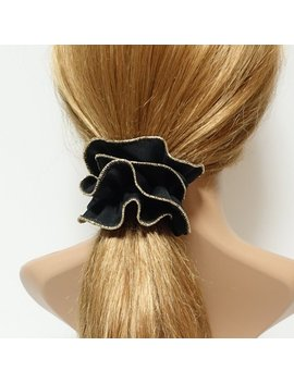 Golden Thread Trim Scrunchies Chiffon Solid Color Hair Elastic Scrunchie by Etsy