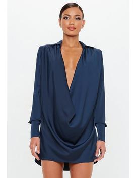Peace + Love Navy Satin Cowl Mini Dress by Missguided