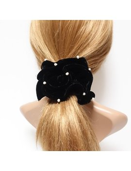 Cultivated Pearl Silk Velvet Scrunchies Soft Luxury Style Hair Scrunchy Black Hair Elastic Women Hair Accessory by Etsy