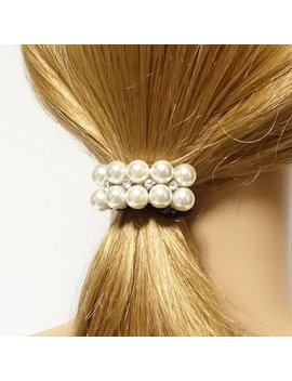 Rhinestone Pearl Coordinated Hair Elastic Ponytail Holder Women Hair Tie Accessory by Etsy