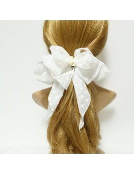 Chiffon Vertical Stripe Dot Pattern Hair Bow With Long Tail French Barrette Women Hair Accessory by Etsy