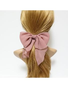 Chiffon Solid Color Bow Knot Hair Tie Elastic Ponytail Holder For Women by Etsy