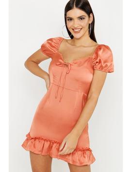 Satin & Lace Trim Mini Dress by Boohoo