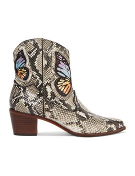 Shelby Embroidered Snake Effect Leather Ankle Boots by Sophia Webster