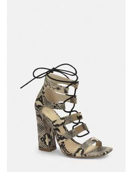 Grey Snake Print Flare Heel Ghillie Sandals by Missguided