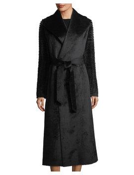 Suri Alpaca Long Wrap Coat W/ Ribbed Sleeves by Sentaler