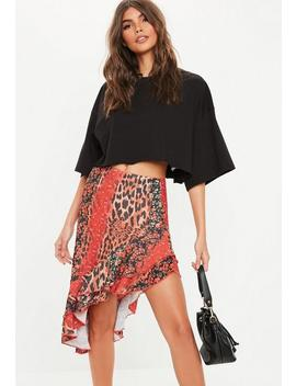 Red Animal Floral Mix Frill Midi Skirt by Missguided