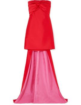 Strapless Twist Front Satin Mini Dress by Reem Acra
