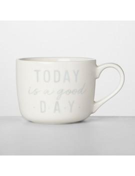 14oz Porcelain Today Is A Good Day Mug White/Gray   Opalhouse™ by Opalhouse
