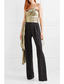 Draped Pleated Silk Blend Lamé Bustier Top by Reem Acra