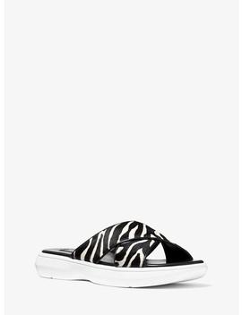 Daphne Zebra Calf Hair Slide by Michael Kors Collection
