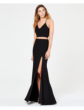 Juniors' 2 Pc. Lace Back Slit Gown by B Darlin