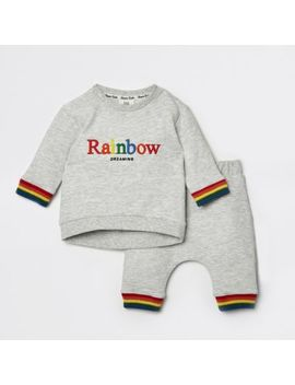 Baby Grey Rainbow Jogger Outfit by River Island