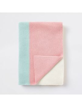 Baby Multi Colour Block Knitted Blanket by River Island