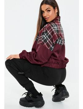 Burgundy Check Colourblock Zip Through Jacket by Missguided