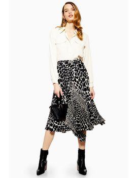 Petite Giraffe Spot Pleated Midi Skirt by Topshop
