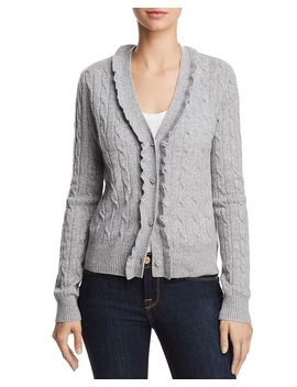Ruffled Cable Knit Cashmere Cardigan   100% Exclusive by Aqua Cashmere