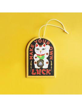 One Lucky Cat Vanilla + Cinnamon Scented Custom Car Air Freshener   Cute Gift Ideas For Best Friend by Etsy