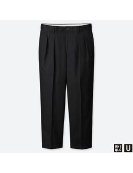 Men Uniqlo U Wide Fit Pleated Tapered Chino Pants by Uniqlo