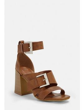 Tan Buckle Strap Block Heel Sandals by Missguided
