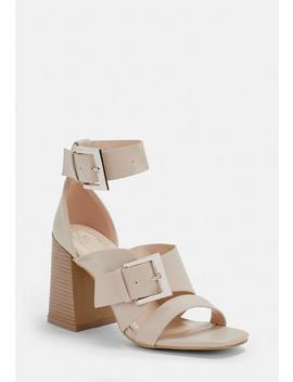 Nude Buckle Strap Block Heel Sandals by Missguided
