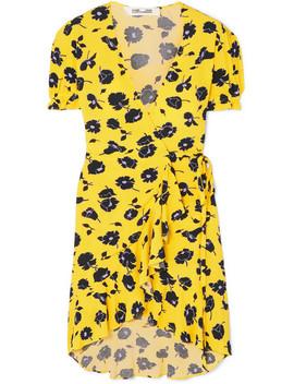Emilia Ruffled Floral Print Crepe Wrap Dress by Diane Von Furstenberg