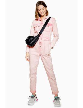 Pink Acid Wash Boiler Suit by Topshop