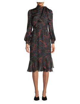 Long Sleeve Floral Print Silk Chiffon Dress W/ Asymmetric Tiered Hem by Neiman Marcus