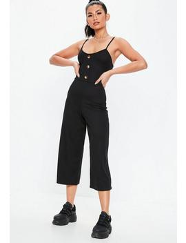 Black Rib Horn Button Culotte Jumpsuit by Missguided