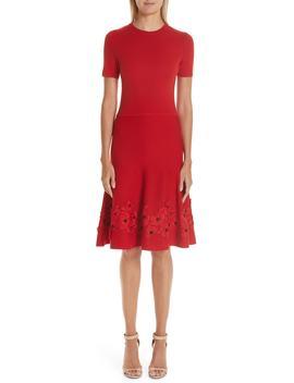 Lace Appliqué Wool A Line Dress by Oscar De La Renta