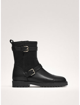 Black Leather Double Buckle Biker Boots by Massimo Dutti