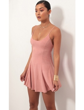 Marley Crushed Velvet Dress In Mauve by Lucy In The Sky