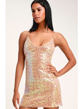 Force Of Fashion Peach Iridescent Backless Sequin Mini Dress by Lulus