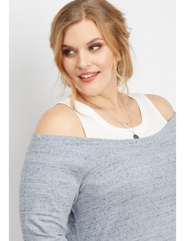 Plus Size Cold Shoulder Built In Tank Sweatshirt by Maurices